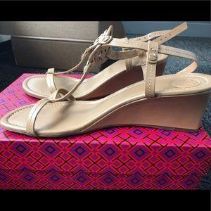 NWT Tory Burch Miller wedge sandal - beige